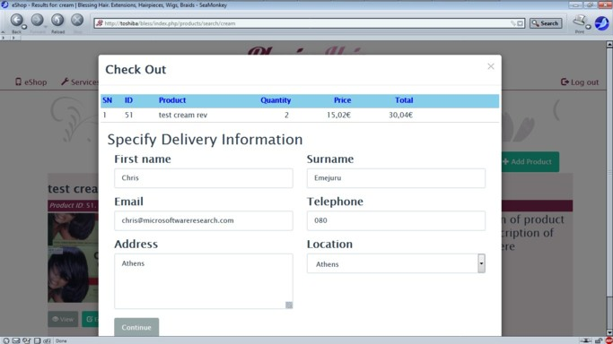 Check Out - Delivery info