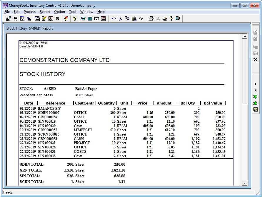Stock history report with multiple units